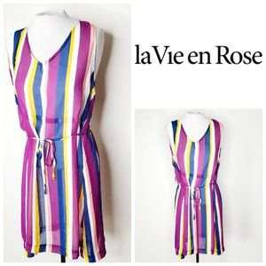 LA VIE EN ROSE Striped Bathing Suit Coverup Dress